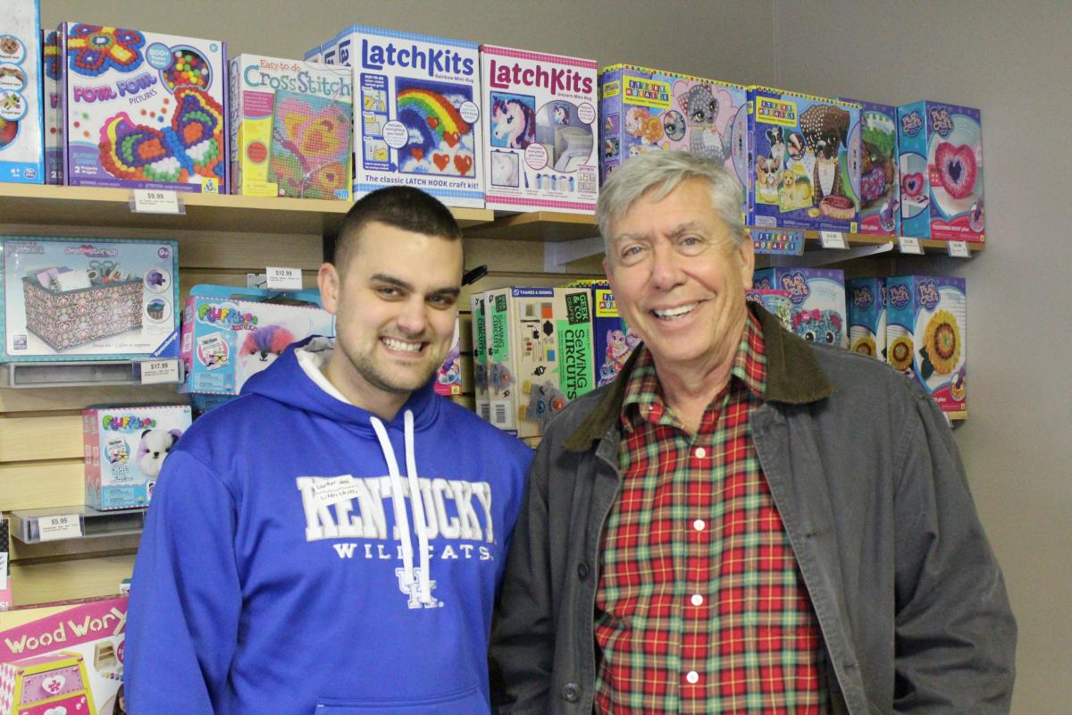 Josh Hager, Happen Stock Toys, and Dennis Jacobs, Christian Appalachian Project, connected both organizations to provide toys to children in Central Appalachia.