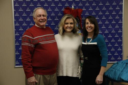 Please turn on images to see president Guy Adams with Hannah Amburgey and Allison Ball.