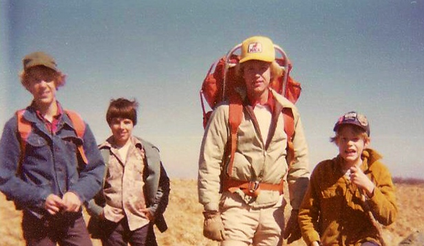 Wilson on the AT with his brothers, 1975.
