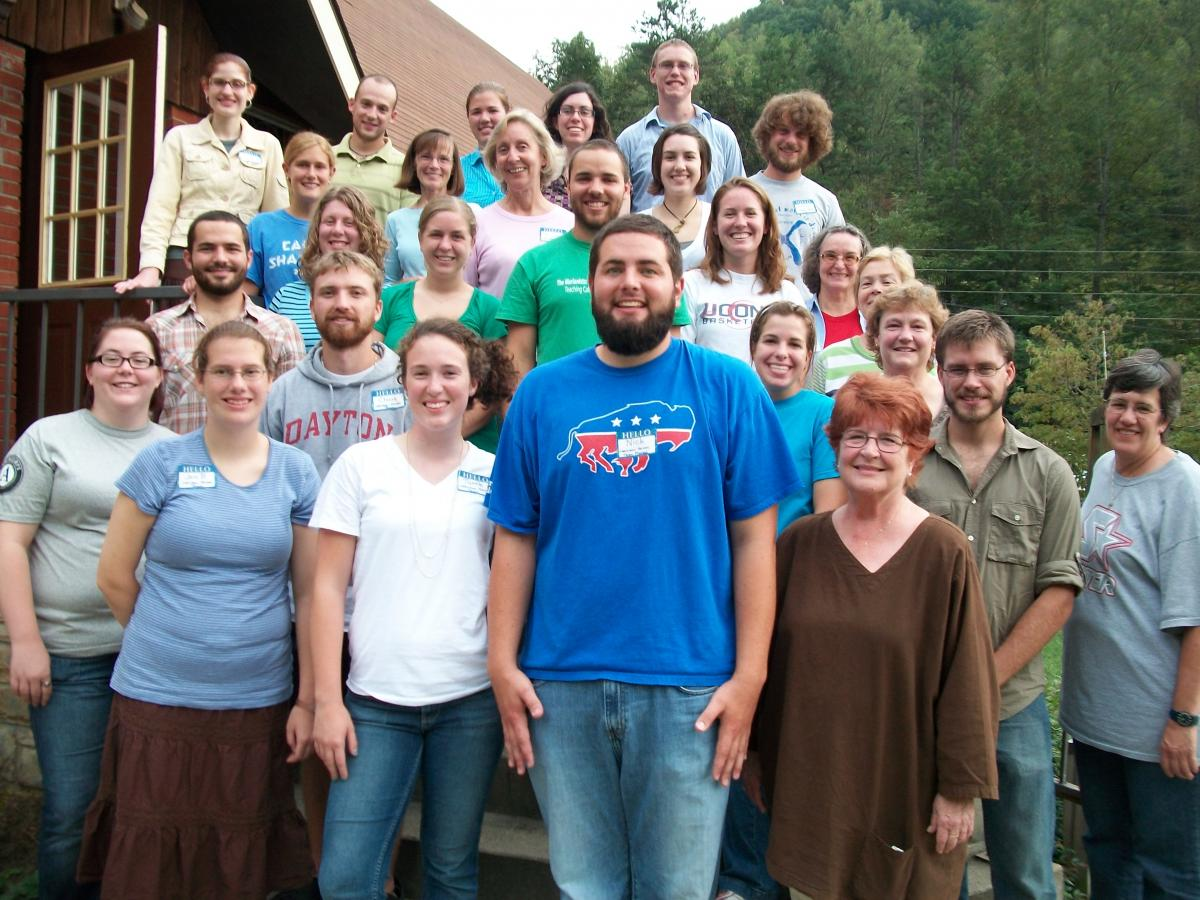 Volunteers for the Christian Appalachian Project assemble for a group picture.