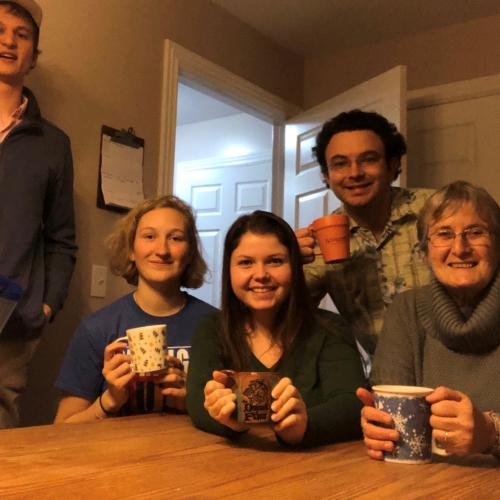 Johnson Volunteer Community enjoying some hot beverages in the dining room.